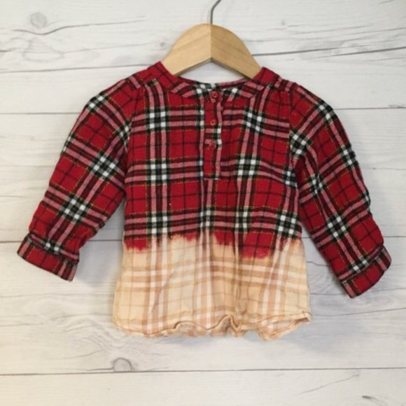 787703be7 jumping beans Shirts & Tops | Upcycled Plaid Flannel Dip Dye Shirt ...